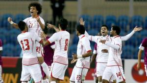 Omar Abdulrahman celebrates with his team mates
