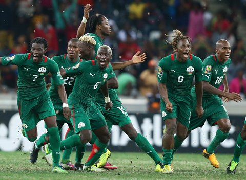 The globe-trotters celebrating their penalty shootout win over Ghana.