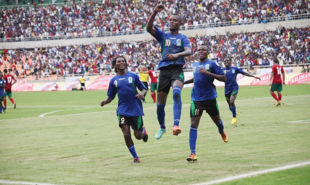 Mbwana Samata celebrating his second goal of the game, Tanzania's third in their 3-1 win.