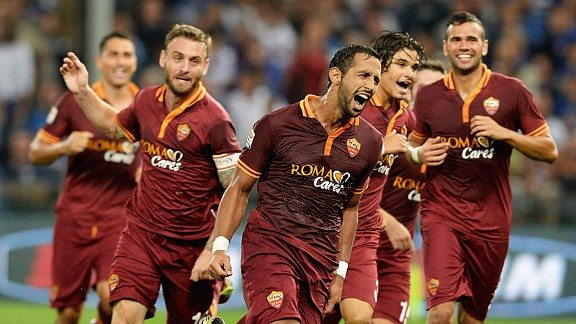 Mehdi Benatia celebrating his goal against Sampdoria