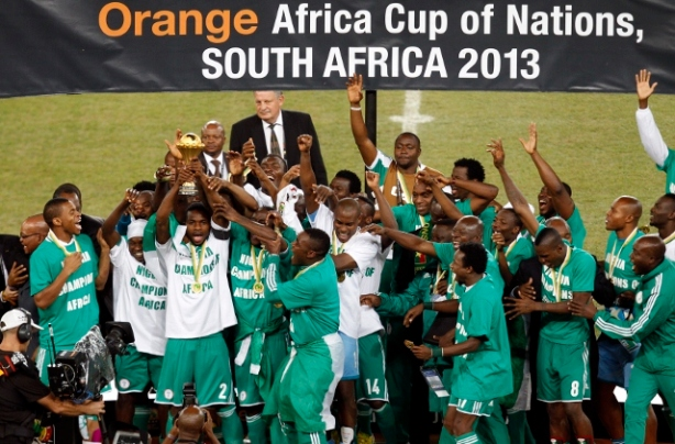 Nigeria's players celebrate winning their African Nations Cup (AFCON 2013) final soccer match against Burkina Faso in Johannesburg